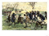 American Minutemen Fight to Hold Off the British Army at Concord Bridge  April 10  1775