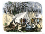 Traders Canoeing with Native Americans to Buy Buffalo Hides and Furs  c1800