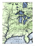 French Missionary Louis Hennepin&#39;s Map of the Mississippi River Valley and Other Areas  c1697