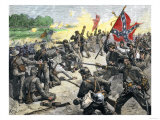 Confederate Louisiana Brigade Throwing Stones at Advancing Federal Army of the Potomac  c1862
