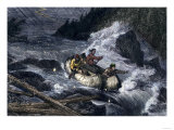 Fur-Traders' Canoes Imperiled by Rapids on the Red River of the North