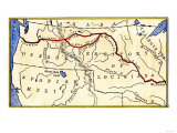 Map of the Lewis and Clark Route across Louisiana Territory  c1804-1806