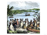Henry Hudson Meeting with Native Americans Along the Hudson River  c1609