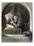 Writing Master Using a Quill Pen