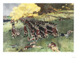 British Army Marching in Formation Up Breed's Hill in the Battle of Bunker Hill  c1775