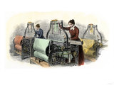Lowell Girls Weaving in Massachusetts Textile Mills  c1850