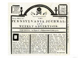 Pennsylvania Journal and Weekly Advertiser Protesting the Stamp Act  c1765