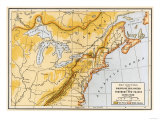 Map Showing British Colonies and Northern New France during the French and Indian War  c1750