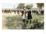 Surrender of British Commander Burgoyne to American General Gates at Saratoga  New York  c1777