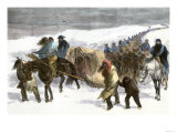 Native American Prisoners Marched across the Snowy Prairie by General George Custer  c1868