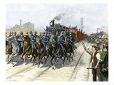 US Cavalry Escorting a Meat Train from the Chicago Stockyards during the Pullman Strike  c1894