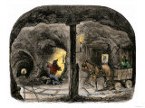 Tunnel in a California Mine  c1850