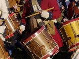 British Drummers Marching in a Reenactment on the Yorktown Battlefield  Virginia
