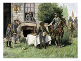 Foraging Confederate Soldiers Taking Homemade Pies from a Farmhouse during Morgan&#39;s Raid  c1863