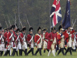 British Army Takes the Field in a Reenactment of the Surrender at Yorktown Battlefield  Virginia