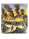 Burning of Deerfield  Massachusetts  during an Indian Attack  c1704
