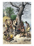 John Smith a Captive Among Native Americans of Virginia Colony  c1600