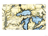 French Map of the Great Lakes and Upper Mississippi River Region  c1700