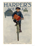 Florist's Delivery Boy on a Bicycle  Harper's Weekly Cover for March 11  1911