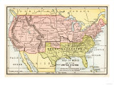 Map of the United States in 1861  at the Start of the Civil War
