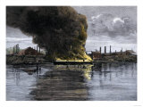 Barges Set Afire during the Homestead Strike at Carnegie Steel  c1892