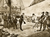 Spanish Armada&#39;s Admiral Surrenders His Sword to Francis Drake  c1588