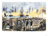 British Attack on Fort Moultrie in Charleston Harbor  c1776