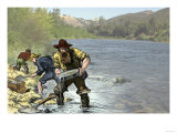 Prospector Panning for Gold Near Sutter&#39;s Mill in the American River  Coloma  California