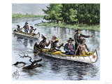 Jacques Marquette and Louis Joliet on the Upper Mississippi River in Canoes  c1673