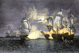 John Paul Jones's Ship  Bon Homme Richard  Defeating the British Serapis  c1779