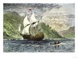 Henry Hudson's Ship  Half-Moon  Ascending the Hudson River  c1609