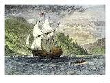 Henry Hudson's Ship  Half-Moon  Ascending the Hudson River  c1609