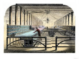 Mill Worker Tending Mule-Spinners  an Industrial Textile Machine  c1800