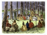 Jesuit Missionary Preaching to Native Americans and Fur Traders in the Wilderness