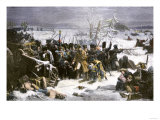 Marshal Ney Bringing the French Rear-Guard Out of Russia with Heavy Losses  c1812