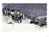 George Washington's Army Crossing the Icy Delaware River to Attack Trenton  December 1776