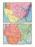 Maps of North American Colonies Before and after the French and Indian War  c1700