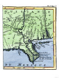 Map of Louisiana  1744  Showing the Mouths of the Mississippi River While Part of New France