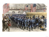 Sixth Massachusetts Regiment Leaving Jersey City by Train for the Civil War  c1861
