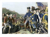 Surrender of British Army to Washington and Rochambeau at Yorktown  c1781