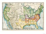 US Map Showing Seceeding States by Date  American Civil War  c1861