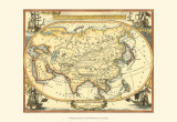 Nautical Map of Asia Reproduction d'art