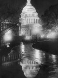 The US Capitol Builing in a Light Night Rain