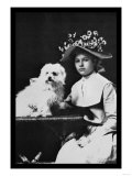 Woman in Bonnet with Maltese Terrier