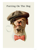 Dog in Hat and Bow Tie Smoking a Cigar