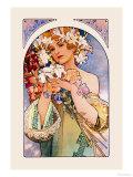 Fleur Reproduction d'art par Alphonse Mucha