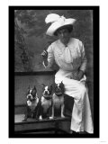 Mrs Rhoades and Her Three Boston Terriers