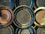 Close-up of Copper Trays for Sale  Morocco  Africa