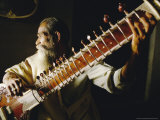 Portrait of an Elderly Man Playing the Sitar  India