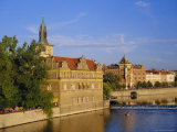 Buildings on the River Vltava  Prague  Czech Republic  Europe